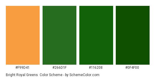 Bright Royal Greens Color Scheme Palette Thumbnail F99d41 266d1f 116208