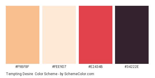 Tempting Desire - Color scheme palette thumbnail - #f9bf8f #fee9d7 #e2434b #34222e