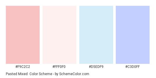 Pasted Mixed - Color scheme palette thumbnail - #f9c2c2 #fff0f0 #d5edf9 #c3d0ff