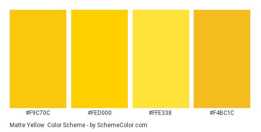 Matte Yellow - Color scheme palette thumbnail - #f9c70c #fed000 #ffe338 #f4bc1c