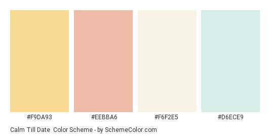 Calm Till Date - Color scheme palette thumbnail - #f9da93 #eebba6 #f6f2e5 #d6ece9