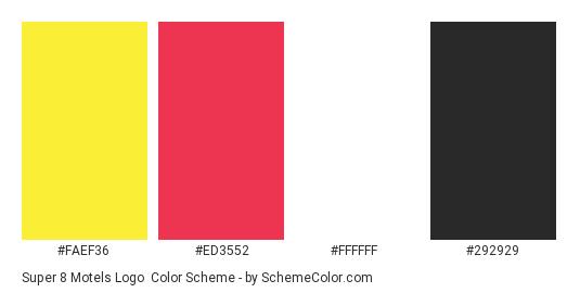 Super 8 Motels Logo - Color scheme palette thumbnail - #faef36 #ed3552 #ffffff #292929