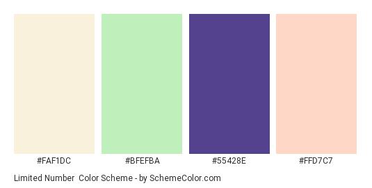 Limited Number - Color scheme palette thumbnail - #faf1dc #bfefba #55428e #ffd7c7