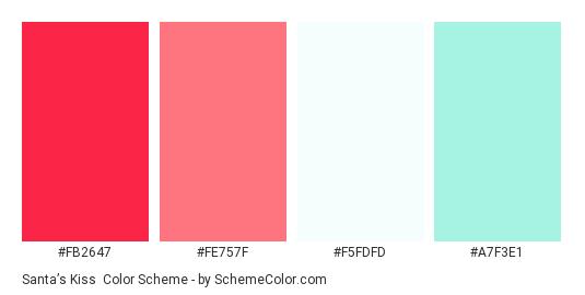 Santa's Kiss - Color scheme palette thumbnail - #fb2647 #fe757f #f5fdfd #a7f3e1