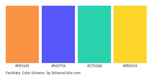 Facilitate - Color scheme palette thumbnail - #fb9345 #5657fa #27d2ad #fbd629