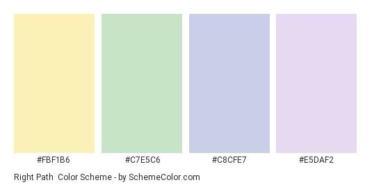 Right Path - Color scheme palette thumbnail - #fbf1b6 #c7e5c6 #c8cfe7 #e5daf2