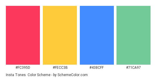 Insta Tones - Color scheme palette thumbnail - #fc395d #fecc3b #438cff #71ca97