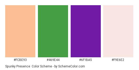 Spunky Presence - Color scheme palette thumbnail - #fcbe93 #469e44 #6f1ba5 #f9e6e2