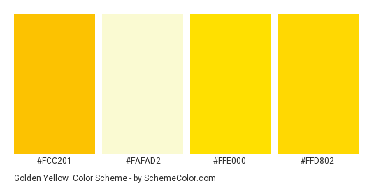 Golden Yellow - Color scheme palette thumbnail - #fcc201 #fafad2 #ffe000 #ffd802