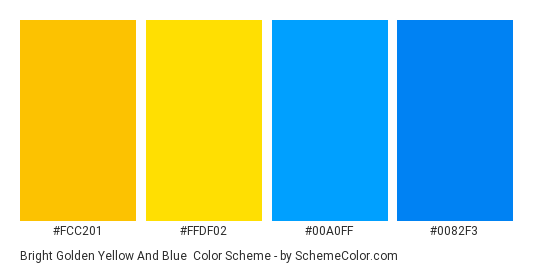 Bright Golden Yellow And Blue Color Scheme Palette Thumbnail Fcc201 Ffdf02