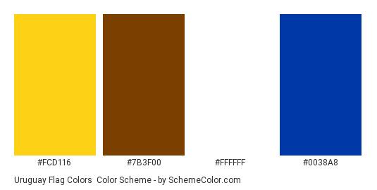 Uruguay Flag Colors - Color scheme palette thumbnail - #fcd116 #7b3f00 #ffffff #0038a8