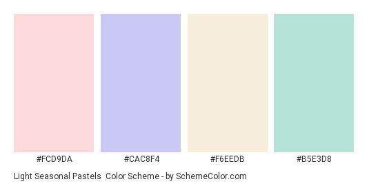 Light Seasonal Pastels - Color scheme palette thumbnail - #fcd9da #cac8f4 #f6eedb #b5e3d8