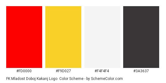 FK Mladost Doboj Kakanj Logo - Color scheme palette thumbnail - #fd0000 #f9d027 #F4F4F4 #3a3637