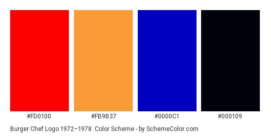 Burger Chef Logo 1972–1978 - Color scheme palette thumbnail - #fd0100 #fb9b37 #0000c1 #000109