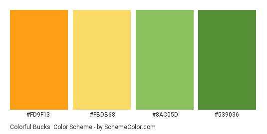 Colorful Bucks - Color scheme palette thumbnail - #fd9f13 #fbdb68 #8ac05d #539036