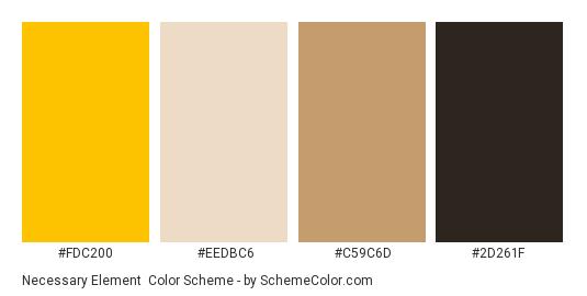 Necessary Element - Color scheme palette thumbnail - #fdc200 #eedbc6 #c59c6d #2d261f