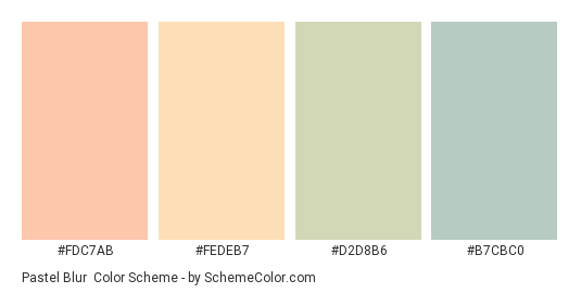 Pastel Blur - Color scheme palette thumbnail - #fdc7ab #fedeb7 #d2d8b6 #b7cbc0