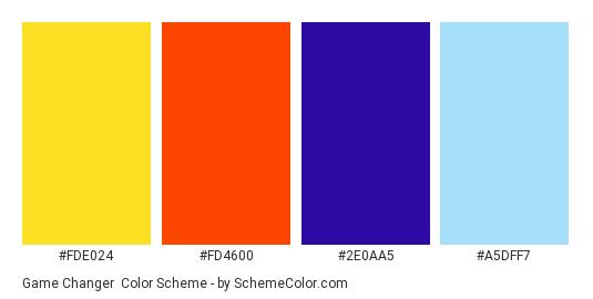 Game Changer - Color scheme palette thumbnail - #fde024 #fd4600 #2e0aa5 #a5dff7