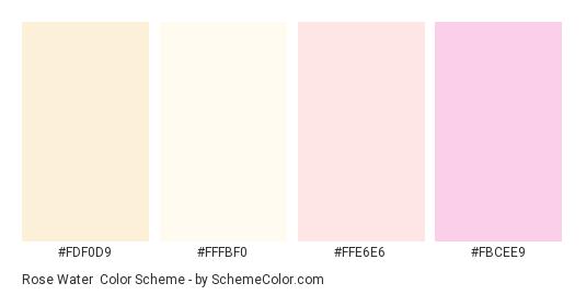 Rose Water - Color scheme palette thumbnail - #fdf0d9 #FFFBF0 #FFE6E6 #FBCEE9