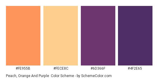 Peach, Orange and Purple - Color scheme palette thumbnail - #fe955b #fece8c #6d366f #4f2e65