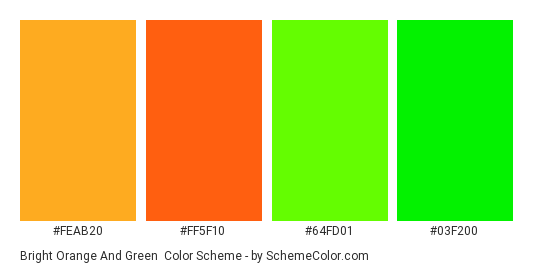 Bright Orange and Green - Color scheme palette thumbnail - #feab20 #ff5f10 #64fd01 #03f200