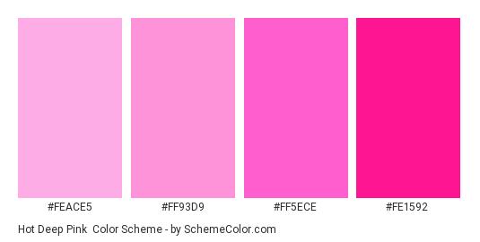 Hot Deep Pink - Color scheme palette thumbnail - #feace5 #ff93d9 #FF5ECE #FE1592