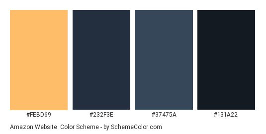 Amazon Website - Color scheme palette thumbnail - #febd69 #232f3e #37475a #131a22