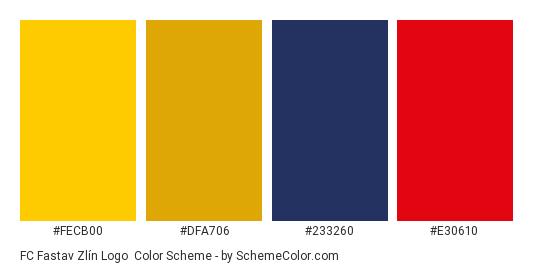 FC Fastav Zlín Logo - Color scheme palette thumbnail - #fecb00 #dfa706 #233260 #e30610