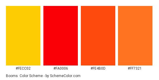 Booms - Color scheme palette thumbnail - #fecc02 #fa0006 #fe4b0d #ff7321