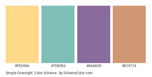 Simple Oversight - Color scheme palette thumbnail - #fed98a #7dbfb6 #8a6b9d #d19774