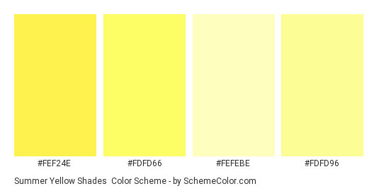 Summer Yellow Shades - Color scheme palette thumbnail - #fef24e #fdfd66 #fefebe #fdfd96