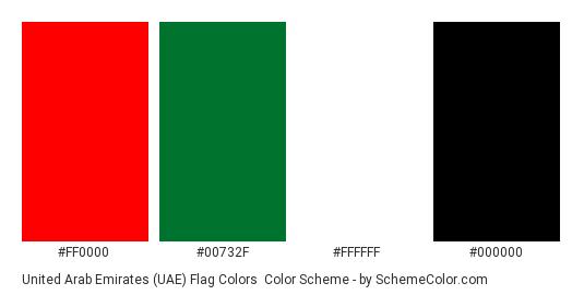 United Arab Emirates (UAE) Flag Colors - Color scheme palette thumbnail - #ff0000 #00732f #ffffff #000000