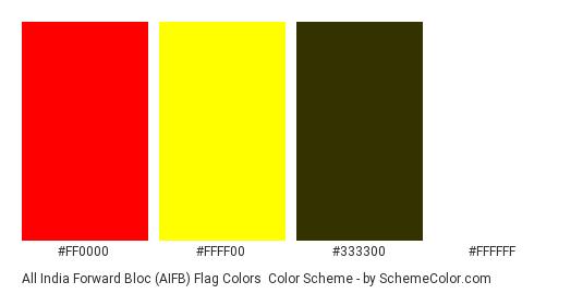 All India Forward Bloc (AIFB) Flag Colors - Color scheme palette thumbnail - #ff0000 #ffff00 #333300 #ffffff