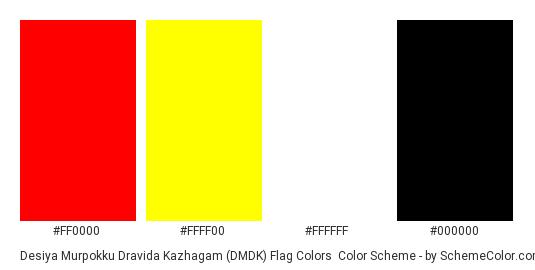 Desiya Murpokku Dravida Kazhagam (DMDK) Flag Colors - Color scheme palette thumbnail - #ff0000 #ffff00 #ffffff #000000