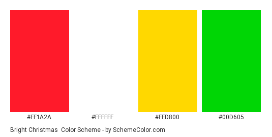 Bright Christmas - Color scheme palette thumbnail - #ff1a2a #ffffff #ffd800 #00d605