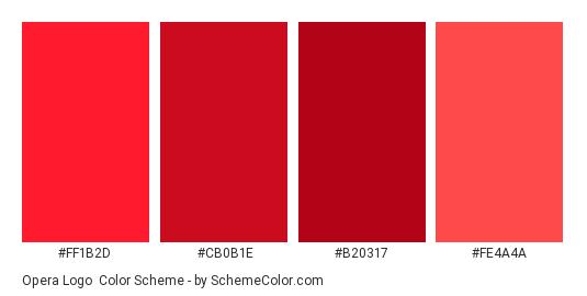 Opera Logo - Color scheme palette thumbnail - #ff1b2d #cb0b1e #b20317 #fe4a4a