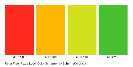 Peter Piper Pizza Logo - Color scheme palette thumbnail - #ff2a1e #ffb700 #d3e11d #46c230