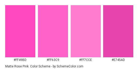 Matte Rose Pink - Color scheme palette thumbnail - #ff49bd #ff63c9 #ff7cce #e745ad