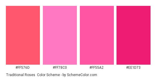 Traditional Roses - Color scheme palette thumbnail - #ff576d #ff78c0 #ff55a2 #ee1d73