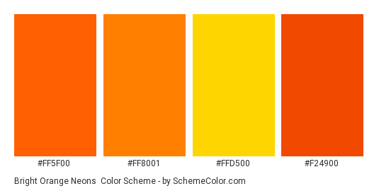 Bright Orange Neons - Color scheme palette thumbnail - #ff5f00 #ff8001 #ffd500 #f24900