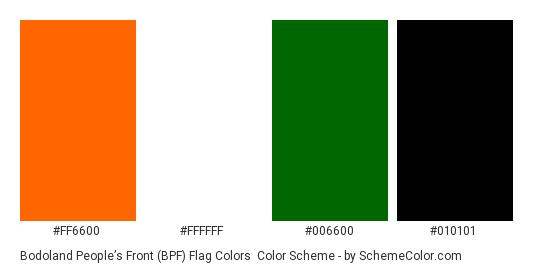 Bodoland People's Front (BPF) Flag Colors - Color scheme palette thumbnail - #ff6600 #ffffff #006600 #010101