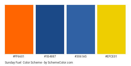 Sunday Fuel - Color scheme palette thumbnail - #ff6601 #1b4887 #3061a5 #efce01