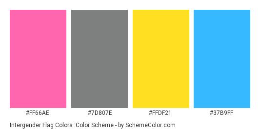 Intergender Flag Colors - Color scheme palette thumbnail - #ff66ae #7d807e #ffdf21 #37b9ff