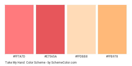 Take My Hand - Color scheme palette thumbnail - #ff7a7d #e7565a #ffdbb8 #ffb978
