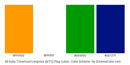 All India Trinamool Congress (AITC) Flag Colors - Color scheme palette thumbnail - #ff9900 #ffffff #009900 #00137f