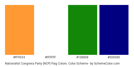 Nationalist Congress Party (NCP) Flag Colors - Color scheme palette thumbnail - #ff9933 #ffffff #138808 #000080