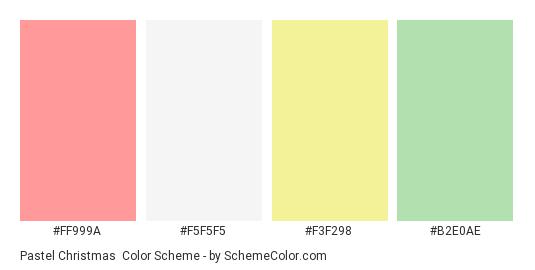 Pastel Christmas Color Scheme Palette Thumbnail Ff999a F5f5f5 F3f298 B2e0ae