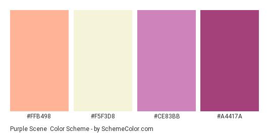 Purple Scene - Color scheme palette thumbnail - #ffb498 #f5f3d8 #ce83bb #a4417a