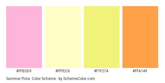 Summer Flora - Color scheme palette thumbnail - #ffb5d9 #fffec6 #f1f27a #ffa149