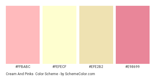 Cream and Pinks - Color scheme palette thumbnail - #ffbabc #fefecf #efe2b2 #e98699